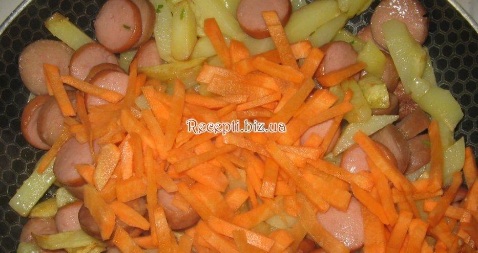 Капуста тушеная с картошкой и колбасой рецепт с пошагово